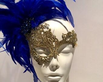 Royal Blue Mask- Lace Mask -Feather Mask-Masquerade Mask- Mayors Masked Ball-Costume party- Masquerade Ball- Mardi Gras Rhinestone mask
