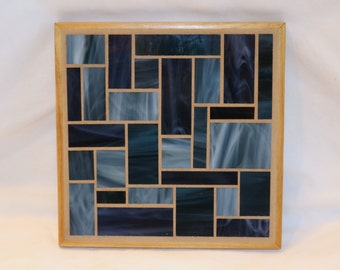 Dark Blue Stained Glass Mosaic Trivet