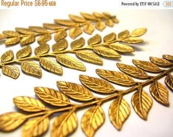 Christmas Sale 3 Large Brass Fern Leaves - Brass Stampings - Brass Ferns - Brass Finding - Fern Leaf Lot