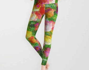 Legging | Tights | Exercise Wear Yoga Pants | Running Leggings | Women's Athletic Wear | Abstract Tulip Print | Teen Girls Fashion | Color