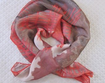 Pierre Cardin double silk chiffon scarf, 1950s chiffon scarf, paris scarves, vintage designer scarf, square silk chiffon scarves. 50s