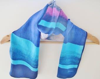 Long silk scarf, Julianna scarf, blue striped scarf, summer scarf, 70s oblong scarf, silk headwrap, neck scarf, retro scarves,