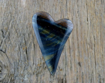 Blue Tiger Eye Heart Cabochon
