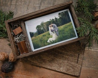 Set of 24 -4x6 (save 72 dollars) Wood print box for 4x6 photos and usb drive - rectangle - (spanish moss included)