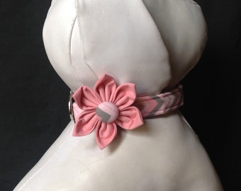 Dog collar flower set - Pink & Grey Chevron - Size XS, S, M