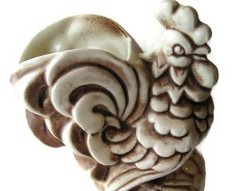 vintage rooster ceramic planter, by Shawnee Pottery, 1940's, white and brown