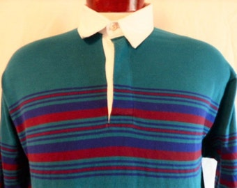 vintage 80's Neil Martin teal blue green rugby shirt colorblock horizontal chest stripe blue wine red pullover jumper collared sweater Large