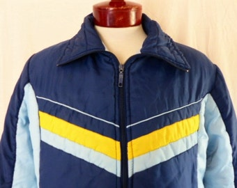 vintage 70's 80's color block navy blue baby blue puffy ski jacket yellow baby blue chevron chest stripe men's unisex winter jacket medium