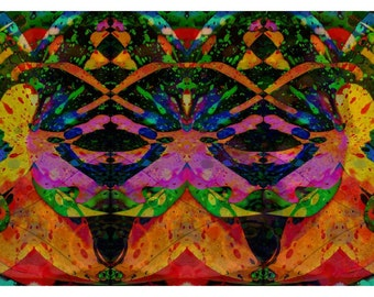 P101 - Orange Pink Yellow Green Abstract Digital Painting Art Postcards