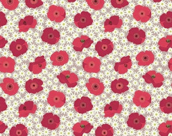 Fat Quarter Red Poppy on Natural Grandma's Garden 100% Cotton Quilting Fabric