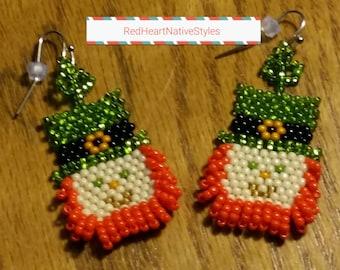 Leprechaun~Shamrock Earrings/Beaded Leprechaun/St. Patty's Jewelry/Brick Stitch Earrings/Native Made