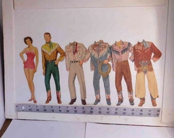 "Roy Rogers and Dale Evans"" Paper Dolls  Listing edited - Vintage 1950's ""  Whitman"
