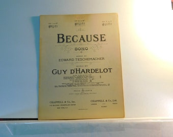 Because Song - vintage sheet music by Edward Teschemacher and Guy D'Hardelot