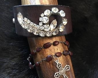 Vintage clear rhinestone brooch with brown leather cuff belt