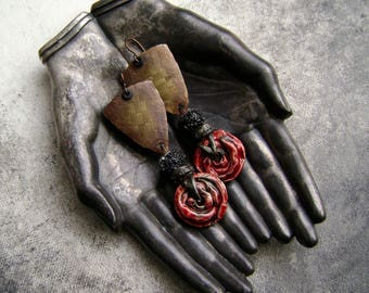 Red Whirlwind, mixed media jewelry, mixed metal, textured metal sheet, artisan jewelry, Scorchedearth, ooak soldered jewelry, AnvilArtifacts