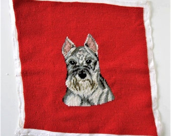 "Vintage finished Dog needlepoint,  Schnauzer Terrier, red and black, animal art, 13"" x 13"", pillow cover, gift idea"