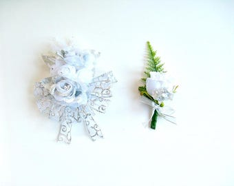 Wedding corsage and boutonniere, 25th wedding anniversary, Silver floral gift set, Wedding decoration, Gift for her, Gift for him
