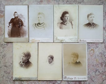 Seven Photos Cabinet Cards of Women Late 1800s