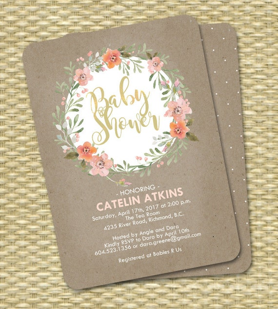 Rustic Baby Shower Invitation Kraft Peach Mint Watercolor Floral