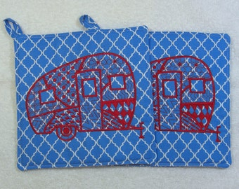 Camper Embroidered  Pot Holder Quilted Embroidered Hot Pad Set of 2 - Hot Pad/Pot Holders Trivet Ready to Ship