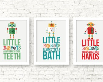 Little robots nursery decor, little robots bathroom art, bathroom rules, funny kids bathroom decor, kids decor, kids bedroom prints, A-3016