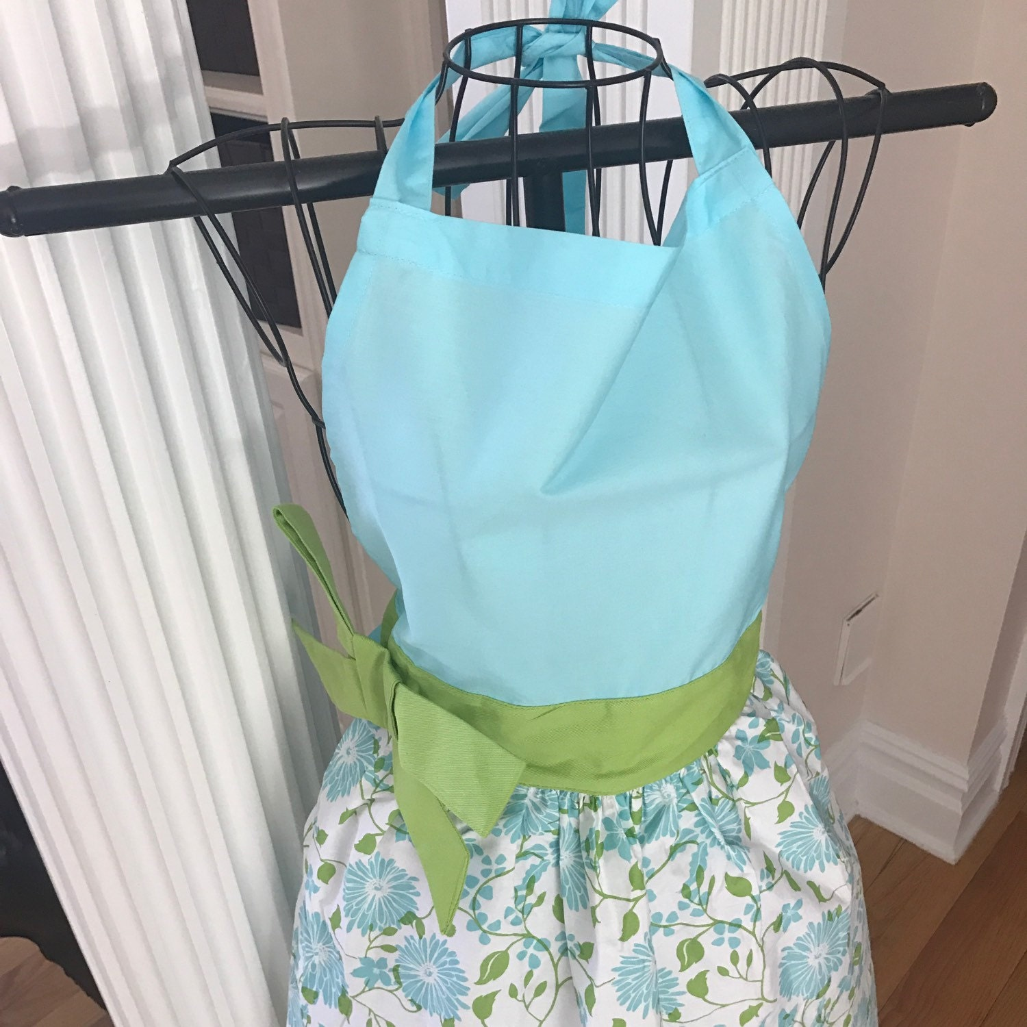 Blue apron gift - Summer Apron Gift Teacher Monogram Kitchen Apron Green Apron Full Apron Blue Apron Embroidered Apron Floral Apron Tiffany