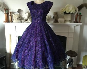 50s Flocked Glittering Purple Party Dress