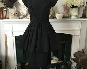 Classic 50s Little Black Peplum Dress