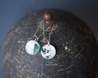 Mini Moon Earrings: Laser Engraved NASA Moons In Lunar Teal
