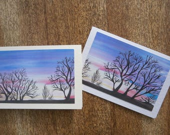 Sunset cards. Individually handmade cards using a print of an original painting. Suitable for any occasion