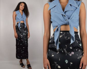 Denim Tie Up Crop Top
