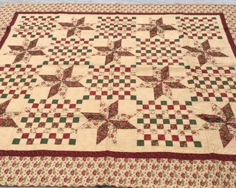 Fall Roses Quilt, Burgundy, green, brown, beige, handmade, MaterialThings2, 70x84 inches, stars, floral, roses