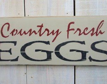 Handmade Wood Sign - Country Fresh Eggs