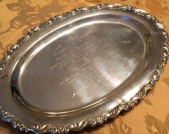 SPRING SALE--Vintage Silver Tray, Wedding Invitation, 1973, Oneida Silversmith, Heavy and Beautiful