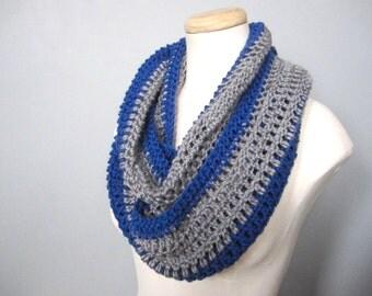 Crochet Blue, Grey, Gray, Silver, and NHL, Hockey, Football, Detroit Team Colors Infinity Scarf, Men's Scarf, Unisex Scarf