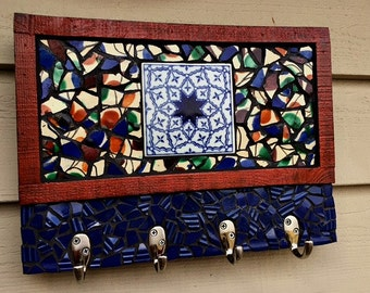 Mosaic Key, Leash, Coffee Cup, Jewelry Hook, Holder, Rack, Recycled, Upcycled