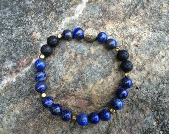 Lapis Lazuli Essential Oil Diffuser Bracelet/ Lapis Mala Bead Bracelet/ Lapis Lazuli Aromatherapy Bracelet/ Yoga Jewelry