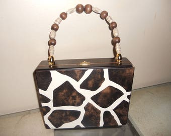 Cigarbox Purse, Brown Print Leather, Tina Marie Purse Purse, Brown and Ivory Colors