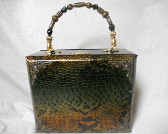 Cigarbox Purse, Metallic leather print, Tina Marie Purse Purse, Black Green Gold