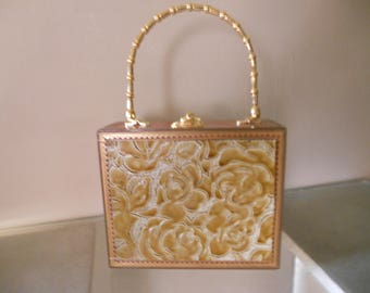 Cigarbox Purse, Pocketbook, Rose Print Leather, Tina Marie Purse Purse, Vintage, Gold