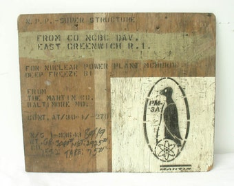 "vintage 60's wood crate piece ""martin"" penguin graphic from nuclear power plant, bizarre"