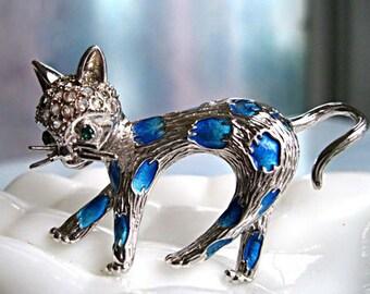 Sterling Enamel Cat Brooch, Crystal Pave Head, Blue Spots Pattern, Trombone Clasp, Signed, Marked, Silver Feline Whimsy Brooch