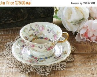 On Sale Rosenthal Ivory Linnie Lee Footed Tea Cup and Saucer Set, Cottage Style, Tea Party, Wedding, Bridesmaid Gift, Bavarian China