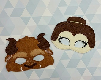 Beauty and the Beast Mask inspired masks- dress up and birthday party favor masks,Beauty and the beast  birthday