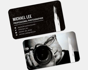 Grunge Black and White Premade Business Card Design | Customized for YOU - Two Sided Personalized Card | Paint Brush Texture Dark