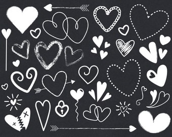 White Scribble Heart Cip Art Set | Cute White Chalkboard Valentine Love Graphic | Digital Illustration Icons | Personal or Commercial Use