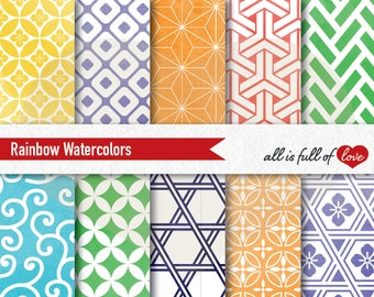 Watercolor Digital Paper Rainbow Patterns Geometric Background Japanese Papers Japan Graphics printable sheets 12x12 Commercial Use