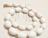 Xmas SALE Vintage White and Gold Beaded Necklace by Monet