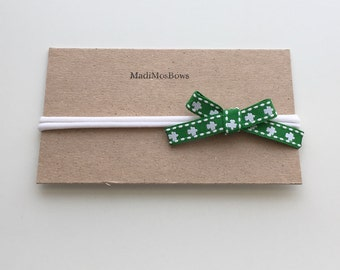 Clover Ribbon Bow on White Nylon Headbands- will fit any age and grow with your child- one size St. Patricks Day headband heart felt