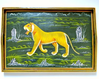 Large Vintage Wooden Tiger Serving Tray